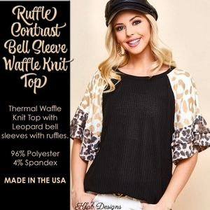 Ruffle Contrast Bell Sleeve Waffle Knit Top